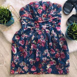 Do & Be Strapless Floral Mini Dress w/ Pockets - L